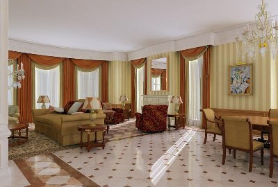 Luxury-living-room-with-marble-floor-with-chandelier-beige-sofa-and-drapery-with-picture-of-walls