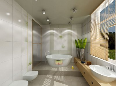 Modern-light-bathroom-white-tiling-walls-plants-and-beige-gray-tiling-floor-and-wood-blinds